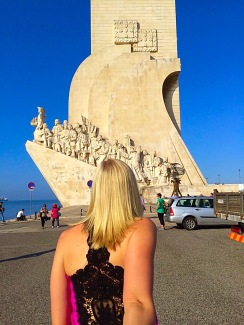 Picture of leading husband to Age of Discovery Monument in Lisbon Portugal