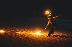 Picture of fire show dancer at Kukua Beach Club wedding reception