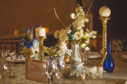 Picture of beautiful blue silver and gold reception decor at Kukua Beach Club Punta Cana