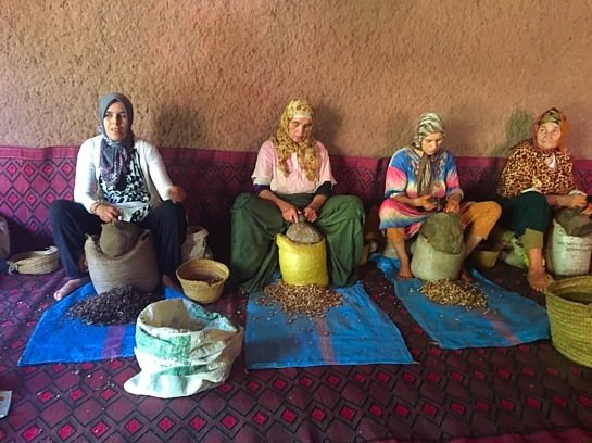 Picture of women in Morocco making argan oil by hand
