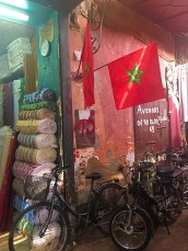 Picture of Moroccan flag in Marrakech souk