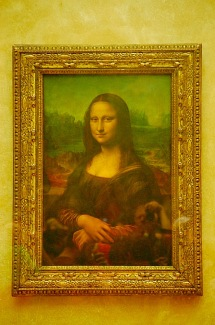 Picture of Mona Lisa in Louvre Museum Paris