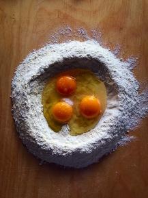 Making the fresh Tagliatelle pasta.