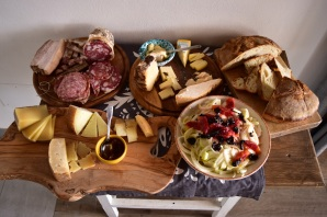 Amazing spread - including fennel blood orange salad (bottom right) and the cheek of the cow (top left).