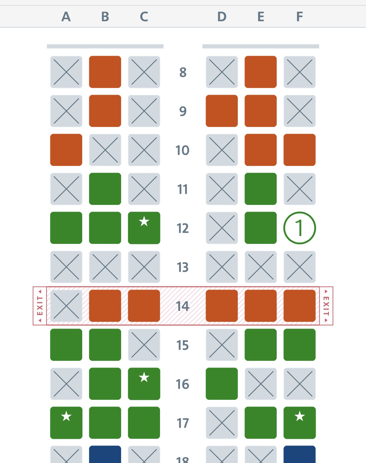 Picture of airline seating chart