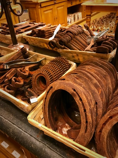 Picture of Belgian chocolate horseshoes and tools