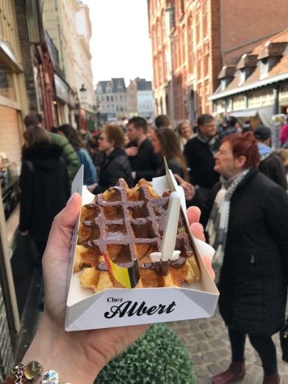 Picture of Belgian Waffle with Dark Chocolate in Bruges from Chez Albert