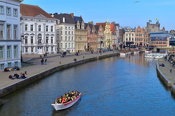 Picture of Ghent Canal with tour boat