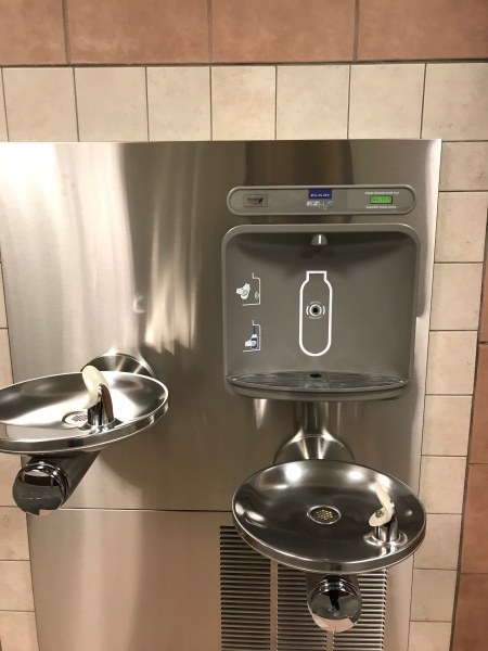 Picture of a reusable water bottle station at an airport
