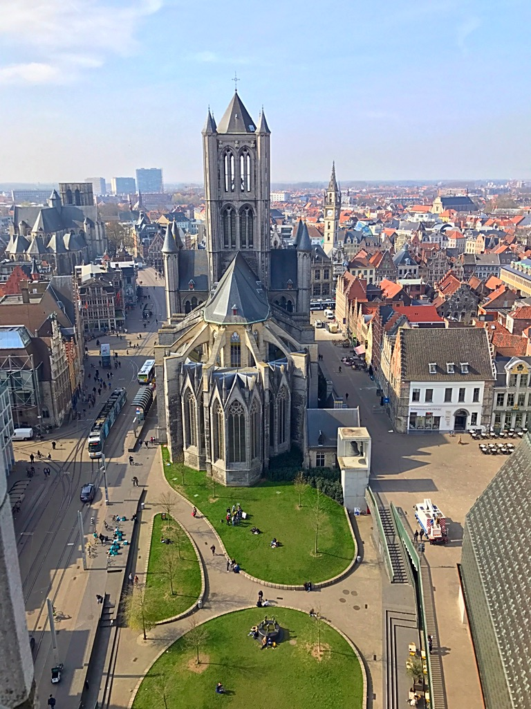 Picture of St. Nicholas Church in Ghent taken from the Belfry