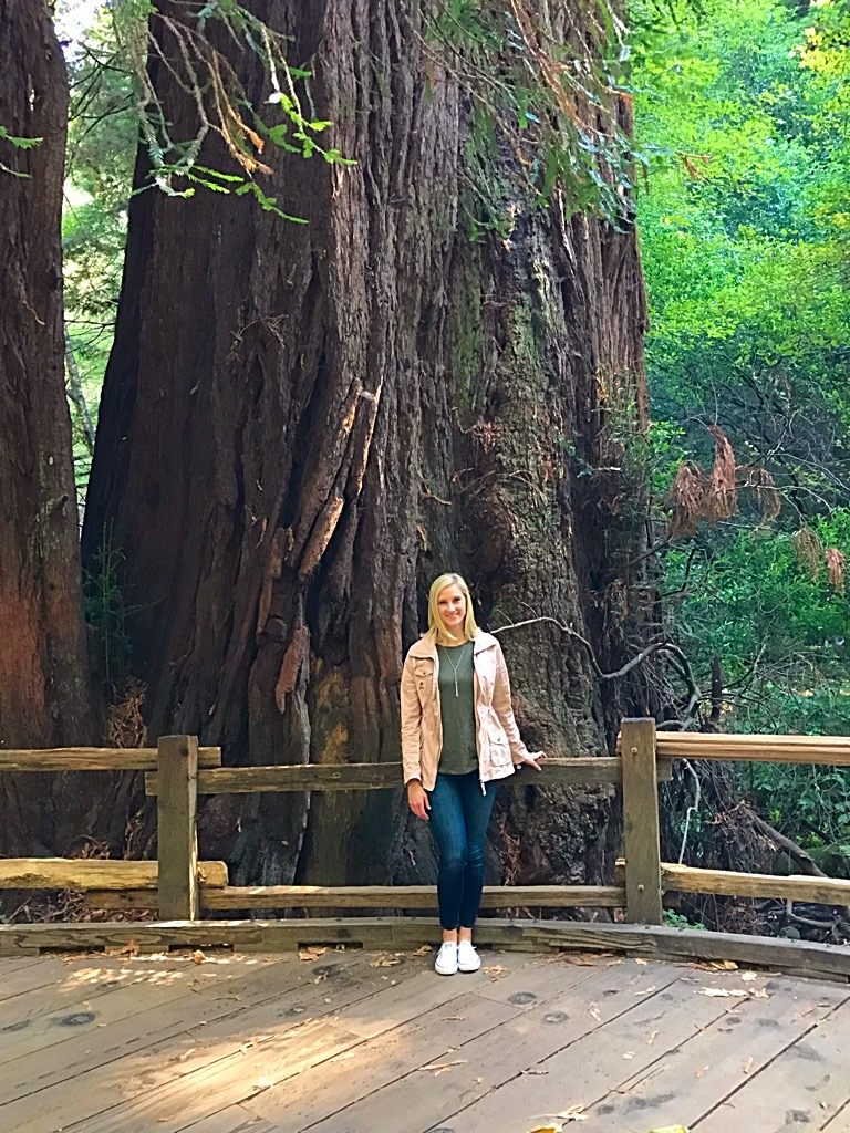 Picture standing in front of Redwood Tree